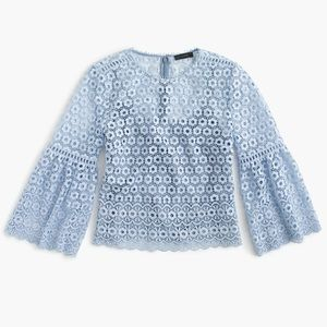 J. Crew Daisylace bell-sleeve top in Faded Peri